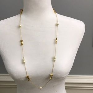 NWT Kate Spade gold bow and pearl necklace